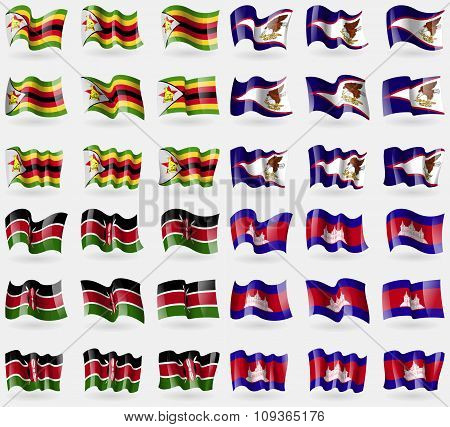 Zimbabwe, American Samoa, Kenya, Cambodia. Set Of 36 Flags Of The Countries Of The World.