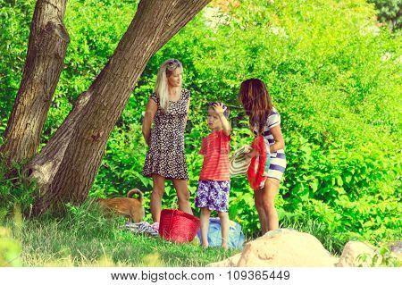 Women And Boy Kid Walking Outdoor.