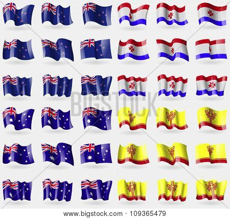 New Zeland, Mordovia, Australia, Chuvashia. Set Of 36 Flags Of The Countries Of The