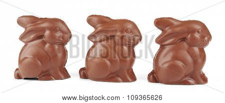 Chocolate Easter bunnies, isolated on white