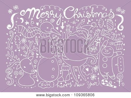 Hand Drawn Christmas Characters And Elements