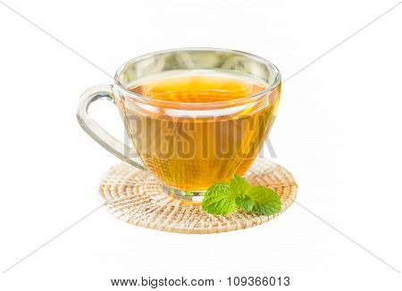 Tea With Mint On Isolated White Background, Selective Focus