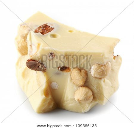 White chocolate piece isolated on white