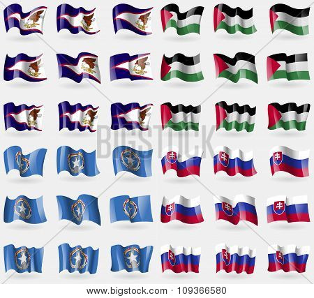 American Samoa, Palestine, Marianna Islands, Slovakia. Set Of 36 Flags Of The Countries Of