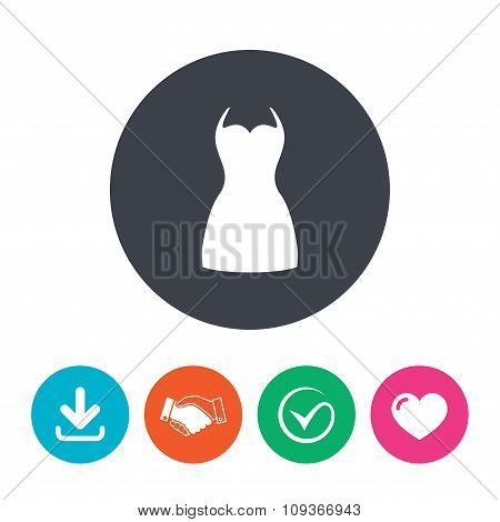 Woman dress sign icon. Elegant clothes symbol.