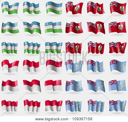 Uzbekistan, Bermuda, Monaco, Tuvalu. Set Of 36 Flags Of The Countries Of The
