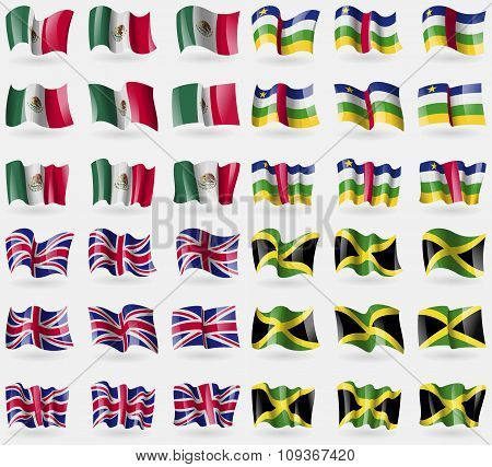 Mexico, Central African Republic, United Kingdom, Jamaica. Set Of 36 Flags Of The Countries Of The