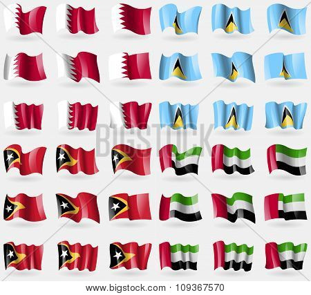 Bahrain, Saint Lucia, East Timor, United Arab Emirates. Set Of 36 Flags Of The Countries Of The