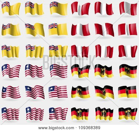 Niue, Peru, Liberia, Germany. Set Of 36 Flags Of The Countries Of The World.