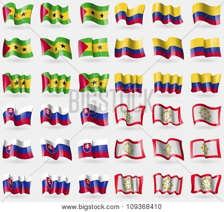 Sao Tome And Principe, Colombia, Slovakia, Sikkim. Set Of 36 Flags Of The Countries Of The World.