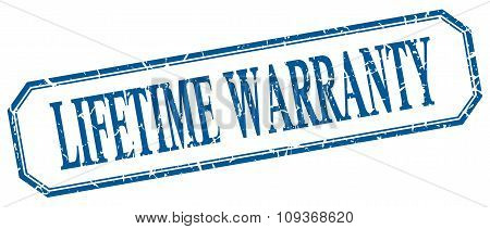 Lifetime Warranty Square Blue Grunge Vintage Isolated Label
