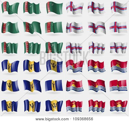 Turkmenistan, Faroe Islands, Barbados, Kiribati. Set Of 36 Flags Of The Countries Of The World.