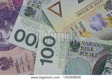 polish currency close up in studio