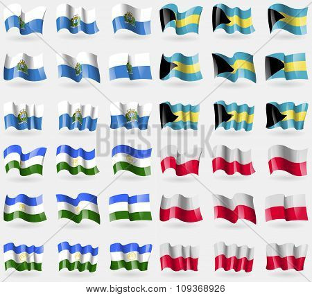 San Marino, Bahamas, Bashkortostan, Poland. Set Of 36 Flags Of The Countries Of The World.