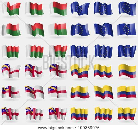 Madagascar, European Union, Herm, Colombia. Set Of 36 Flags Of The Countries Of The