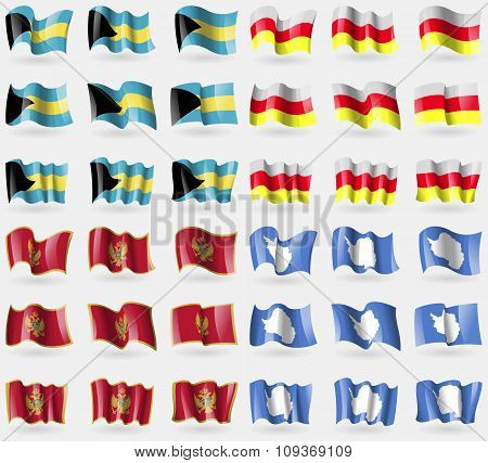 Bahamas, North Ossetia, Montenegro, Antarctica. Set Of 36 Flags Of The Countries Of The World.