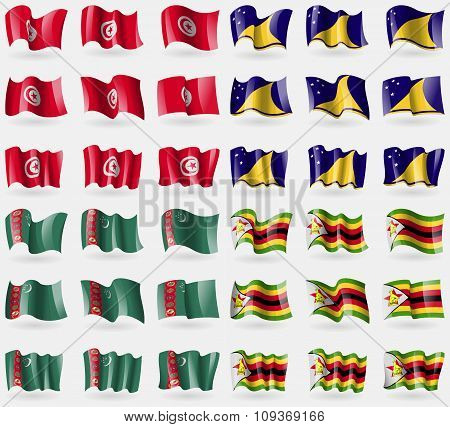 Tunusia, Tokelau, Turkmenistan, Zimbabwe. Set Of 36 Flags Of The Countries Of The World.