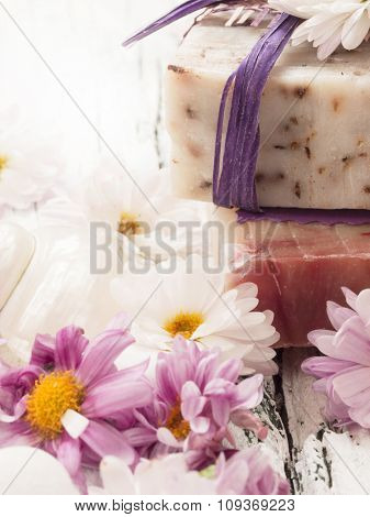 bars of soap with fresh flowers, fresh as flowers