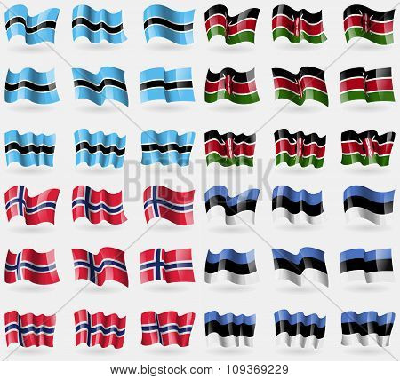 Botswana, Kenya, Norway, Estonia. Set Of 36 Flags Of The Countries Of The World.