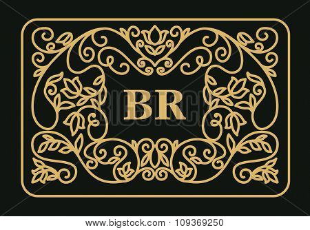 Floral vintage frame with copy space for text in trendy mono line style - monogram design element. Vector illustration.
