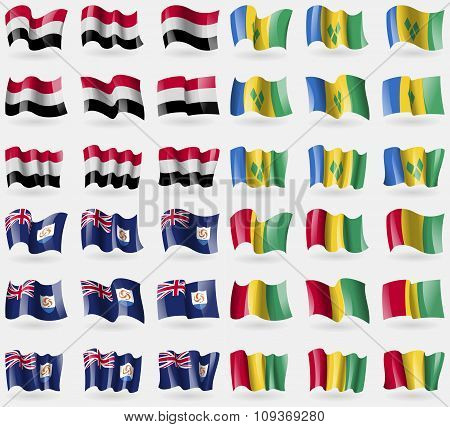 Yemen, Saint Vincent And Grenadines, Anguilla, Guinea. Set Of 36 Flags Of The Countries Of The
