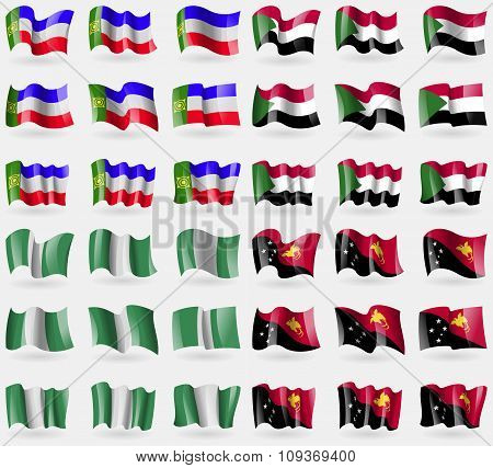 Khakassia, Sudan, Nigeria, Papua New Guinea. Set Of 36 Flags Of The Countries Of The World.