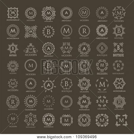 Big bunch of luxury, simple and elegant monogram design templates. Good for labels and logos. Vector illustration. Line style.