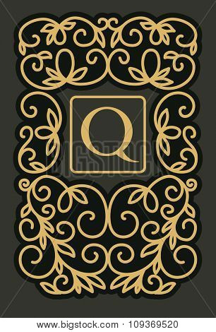 Vintage floral frame with copy space for text in trendy mono line style - monogram design . Vector illustration.