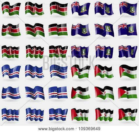 Kenya, Virginislandsuk, Cape Verde, Western Sahara. Set Of 36 Flags Of The Countries Of The World.