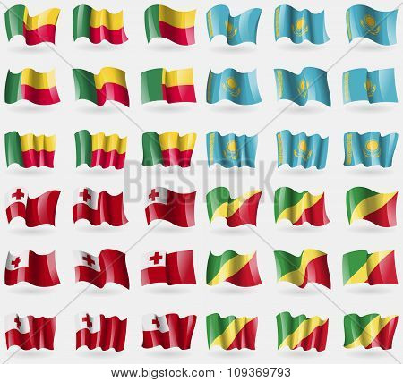 Benin, Kazakhstan, Tongo, Congo Republic. Set Of 36 Flags Of The Countries Of The World.