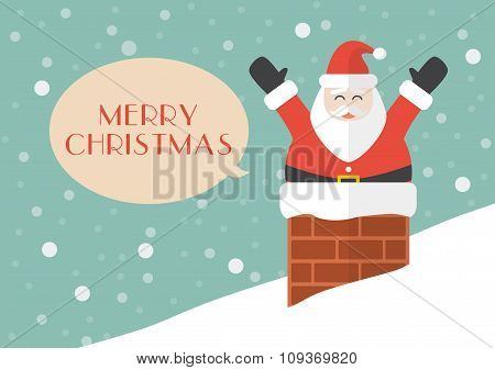 Santa Claus In Chimney With Snow Background