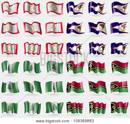 Sikkim, American Samoa, Norfolk Island, Vanuatu. Set Of 36 Flags Of The Countries Of The World.