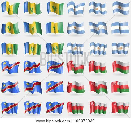 Saint Vincent And Grenadines, Argentina, Congo Democratic Republic, Oman. Set Of 36 Flags Of The