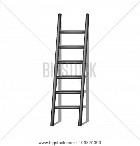 Wooden ladder in black design with shadow