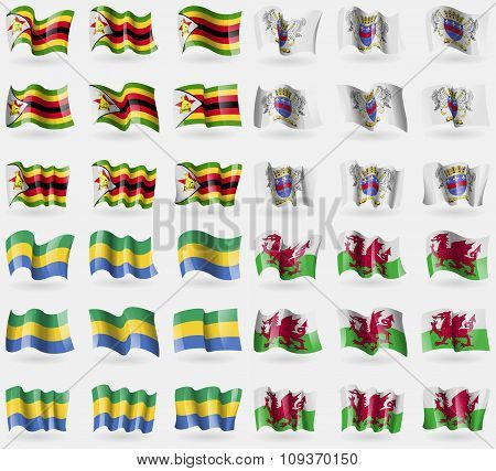 Zimbabwe, Saint Barthelemy, Gabon, Wales. Set Of 36 Flags Of The Countries Of The World. Vector