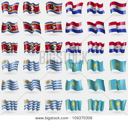 Swaziland, Paraguay, Uruguay, Kazakhstan. Set Of 36 Flags Of The Countries Of The World. Vector
