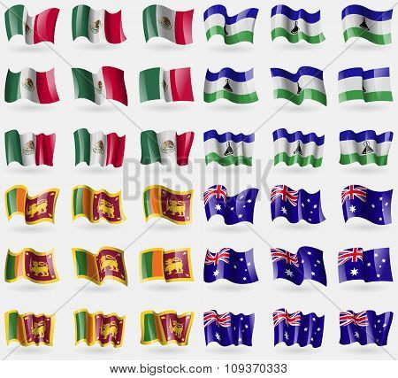 Mexico, Lesothe, Sri Lanka, Australia. Set Of 36 Flags Of The Countries Of The World. Vector