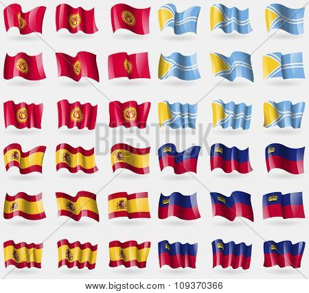 Kyrgyzstan, Tuva, Spain, Liechtenstein. Set Of 36 Flags Of The Countries Of The World. Vector