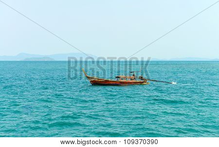Long Tail Boat In The Andaman Sea.