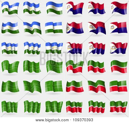 Bashkortostan, Saint Martin, Ladonia, Tatarstan. Set Of 36 Flags Of The Countries Of The World. Vect