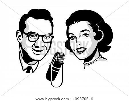 Female and male presenters on retro talk show