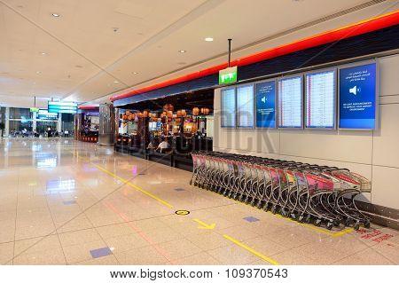 DUBAI, UAE - NOVEMBER 21, 2015: interior of Dubai Airport. Dubai International Airport is the world's busiest airport by international passenger traffic.