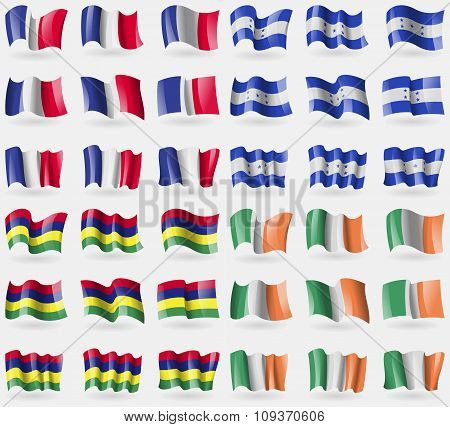 France, Honduras, Mauritius, Ireland. Set Of 36 Flags Of The Countries Of The World. Vector
