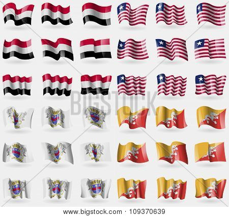 Yemen, Liberia, Saint Barthelemy, Bhutan. Set Of 36 Flags Of The Countries Of The World. Vector