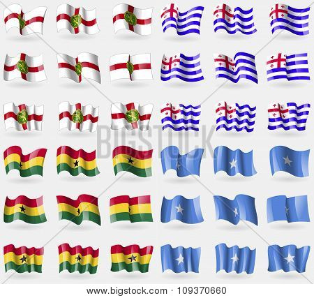Alderney, Ajaria, Ghana, Somalia. Set Of 36 Flags Of The Countries Of The World. Vector