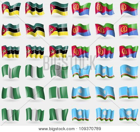 Mozambique, Eritrea, Nigeria, Sakha Republic. Set Of 36 Flags Of The Countries Of The World. Vector