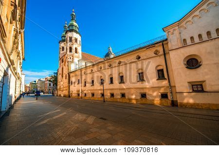 Street view with St. Andrews church in old city center of Krakow