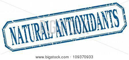 Natural Antioxidants Square Blue Grunge Vintage Isolated Label