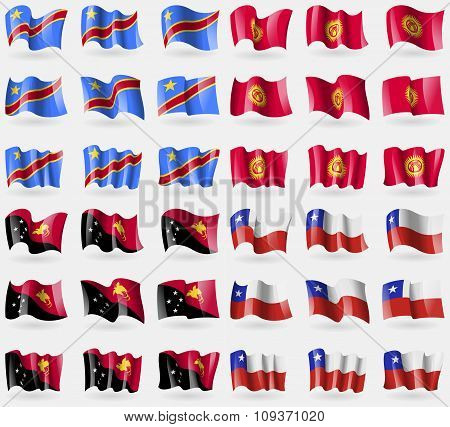 Congo Democratic Republic, Kyrgyzstan, Papua New Guinea, Chile. Set Of 36 Flags Of The Countries Of