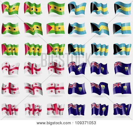 Sao Tome And Principe, Bahamas, Georgia, Saint Helena. Set Of 36 Flags Of The Countries Of The World
